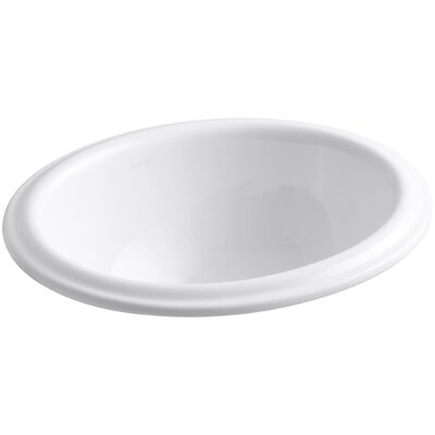 Intaglio Oval Self Rimming Bathroom Sink Sink Finish: White