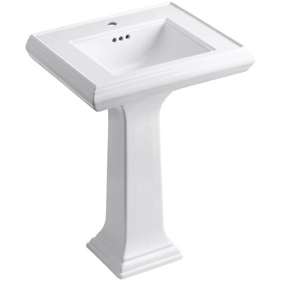 Memoirs� Ceramic 24 Pedestal Bathroom Sink with Overflow Finish: White, Faucet Hole Style: 4Centerset