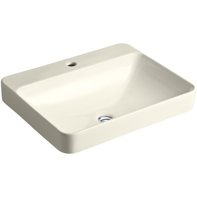 Vox Rectangular Vessel Bathroom Sink with Overflow Finish: Almond, Faucet Hole Style: 8 Widespread