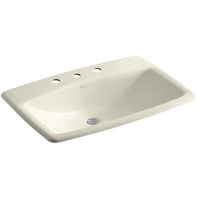 Mans Lav Metal Rectangular Drop-In Bathroom Sink with Overflow Finish: Almond