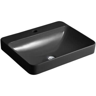Vox Rectangular Vessel Bathroom Sink Finish: Black Black, Faucet Hole Style: Single