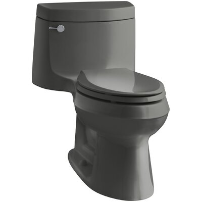 Cimarron Comfort Height One-Piece Elongated 1.28 GPF Toilet with Aquapiston Flush Technology and Left-Hand Trip Lever Finish: Thunder Grey