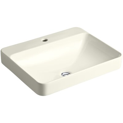 Vox Rectangular Vessel Bathroom Sink with Overflow Finish: Biscuit, Faucet Hole Style: Single