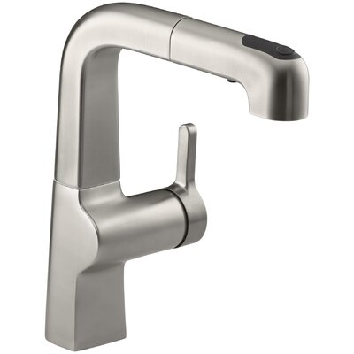 Evoke Single-Hole Kitchen Sink Faucet with 8 Pullout Spout Finish: Vibrant Stainless