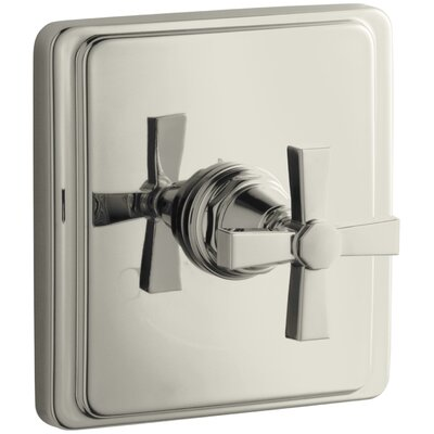 Pinstripe Valve Trim with Pure Design Cross Handle for Thermostatic Valve, Requires Valve Finish: Vibrant Polished Nickel