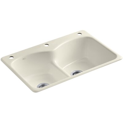 Langlade 33 x 22 x 9-5/8 Top-Mount Smart Divide Double-Equal Kitchen Sink with One Faucet Hole and Two Accessory Holes Finish: Almond