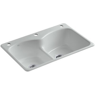 Langlade 33 x 22 x 9-5/8 Top-Mount Smart Divide Double-Equal Kitchen Sink with One Faucet Hole and Two Accessory Holes Finish: Ice Grey