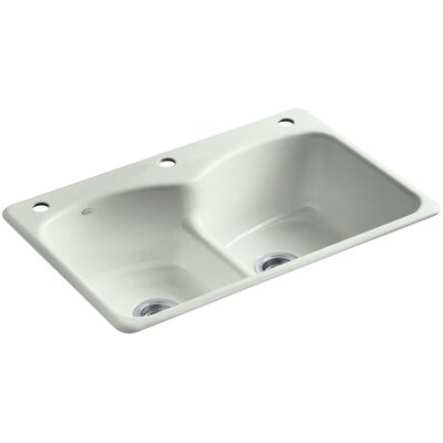 Langlade 33 x 22 x 9-5/8 Top-Mount Smart Divide Double-Equal Kitchen Sink with One Faucet Hole and Two Accessory Holes Finish: Sea Salt