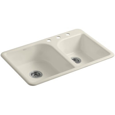Efficiency 33 x 22 x 7-5/8 Top-Mount Large/Medium Double-Bowl Kitchen Sink Finish: Almond, Faucet Drillings: 3 Hole