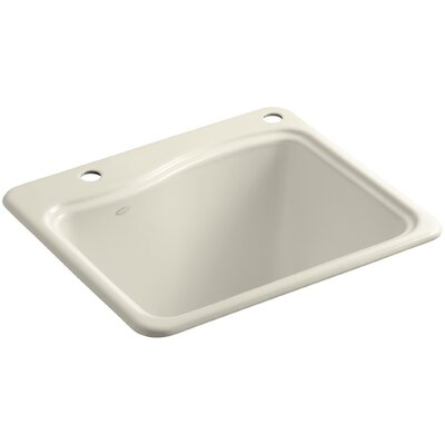 River Falls Top-Mount Utility Sink with 2 Faucet Holes - One-Hole On Deck On The Left and Right-Hand Accessory Hole Finish: Almond
