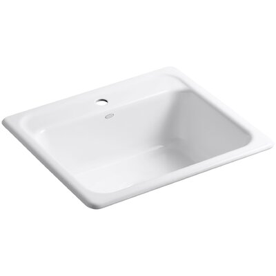 Mayfield 25 x 22 x 8-3/4 Top-Mount Single-Bowl Kitchen Sink Finish: White, Faucet Drillings: 4 Hole