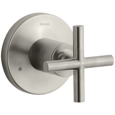 Purist Valve Trim with Cross Handle for Transfer Valve, Requires Valve Finish: Vibrant Brushed Nickel K-T14491-3-BN