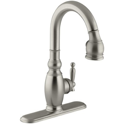 Vinnata Single-Hole or Three-Hole Kitchen Sink Faucet with Pull-Down 15-1/8 Spout and Lever Handle Finish: Vibrant Brushed Nickel