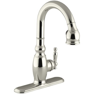 Vinnata Single-Hole or Three-Hole Kitchen Sink Faucet with Pull-Down 15-1/8 Spout and Lever Handle Finish: Vibrant Polished Nickel