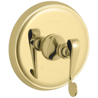 Revival Valve Trim with Scroll Lever Handle for Thermostatic Valve, Requires Valve Finish: Vibrant Polished Brass