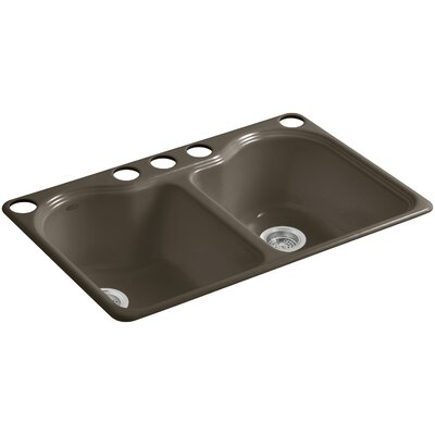 Hartland 33 x 22 x 9-5/8 Under-Mount Double-Equal Kitchen Sink with 5 Faucet Holes Finish: Suede