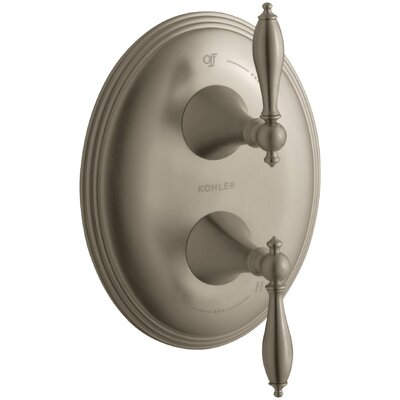 Finial Traditional Valve Trim with Lever Handles for Stacked Thermostatic Valve Trim, Requires Valve Finish: Vibrant Brushed Bronze