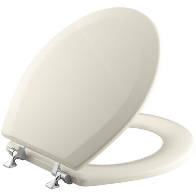 Triko Round-Front Toilet Seat with Polished Chrome Hinges Finish: Almond