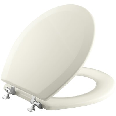 Triko Round-Front Toilet Seat with Polished Chrome Hinges Finish: Biscuit