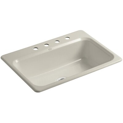 Bakersfield 31 x 22 x 8-5/8 Top-Mount Single-Bowl Kitchen Sink Finish: Sandbar, Number of Faucet Holes: 4
