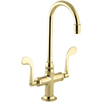 Essex Double Handle Kitchen Faucet with Wristblade Handles Finish: Vibrant Polished Brass