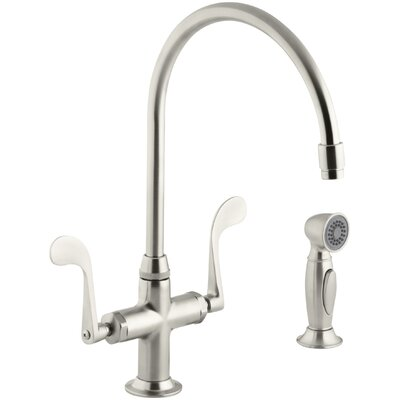 Essex Glass Single-Hole Bar Faucet with 9 Gooseneck Spout and Accent Sidespray Finish: Vibrant Brushed Nickel
