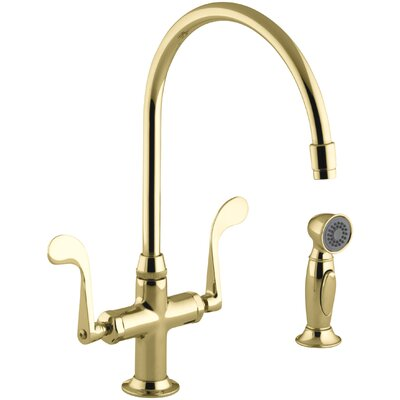 Essex Single-Hole Bar Faucet with 9 Gooseneck Spout and Accent Sidespray Finish: Vibrant Polished Brass