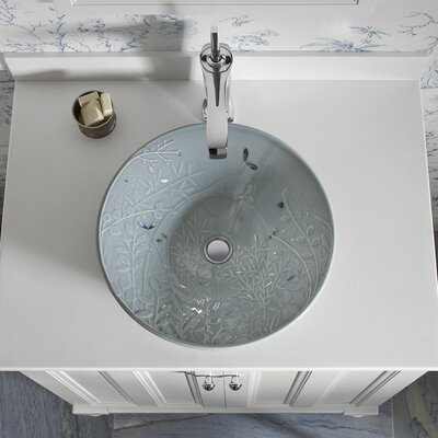 Artist Editions Gilded Circular Vessel Bathroom Sink Sink Finish: Translucent Blue