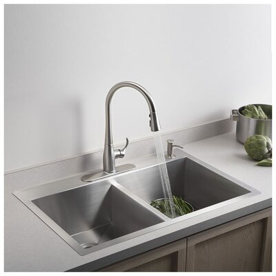 Vault 33 x 22 x 9-5/16 Top-Mount/Under-Mount Large/Medium Double-Bowl Kitchen Sink with Single Faucet Hole