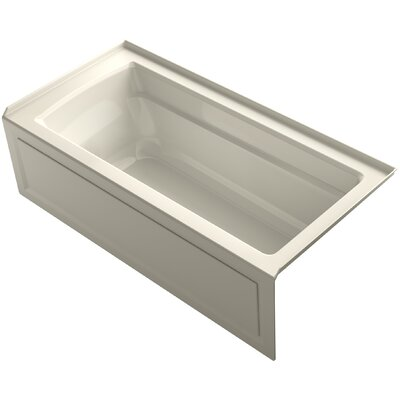Archer VibrAcoustic Integral Apron Bath with Bask� Heated Surface, Tile Flange, and Right-Hand Drain Finish: Almond