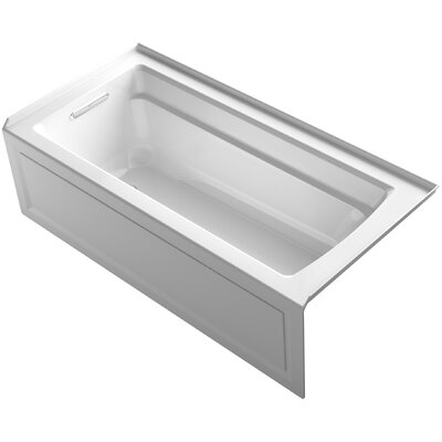 Archer Alcove VibrAcoustic Bath with Integral Apron, Tile Flange and Left-Hand Drain Finish: White