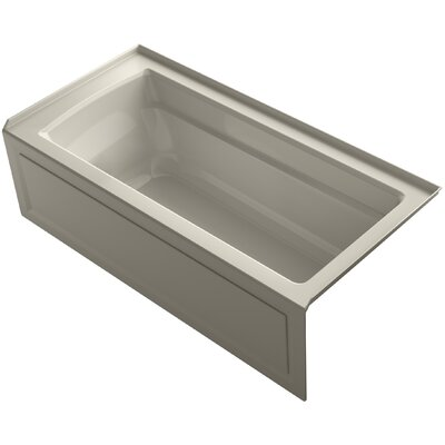 Archer VibrAcoustic Integral Apron Bath with Bask� Heated Surface, Tile Flange, and Right-Hand Drain Finish: Sandbar