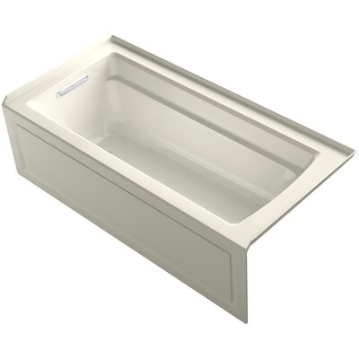 Archer Alcove VibrAcoustic Bath with Integral Apron, Tile Flange and Left-Hand Drain Finish: Biscuit