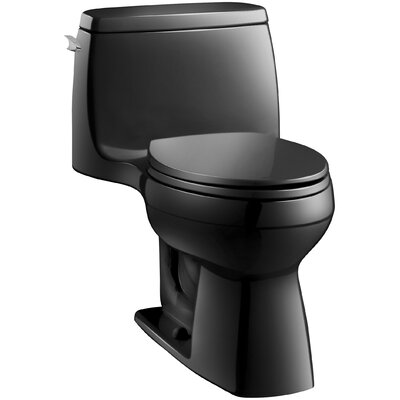 Santa Rosa Comfort Height One-Piece Compact Elongated 1.6 GPF Toilet with Aquapiston Flush Technology and Left-Hand Trip Lever Finish: Black Black