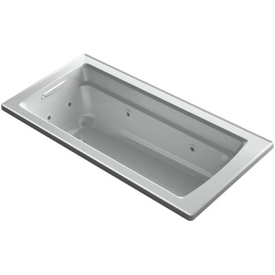 Archer Drop-in Whirlpool Bath with Bask Heated Surface Finish: Ice Grey
