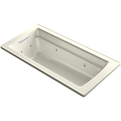 Archer Drop-in Whirlpool Bath with Bask Heated Surface Finish: Biscuit