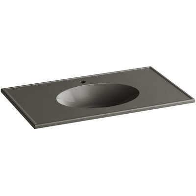 Ceramic Impressions Ceramic Rectangular Drop-In Bathroom Sink with Overflow Finish: Cashmere Impressions
