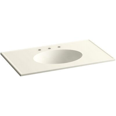 Ceramic Impressions Impressions Rectangular Drop-In Bathroom Sink with Overflow Top Finish: Biscuit Impressions