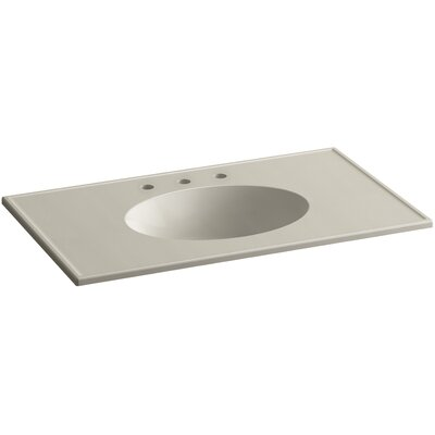 Ceramic Impressions 37 Console Bathroom Sink with Overflow Finish: Sandbar Impressions