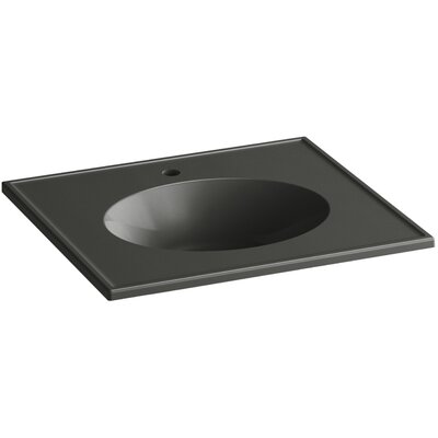 Ceramic Impressions Impressions Ceramic Rectangular Drop-In Bathroom Sink with Overflow Finish: Thunder Grey Impressions
