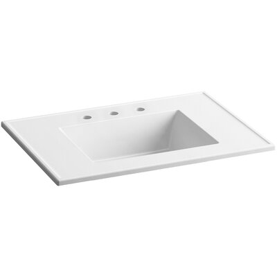 Ceramic Impressions Impressions Rectangular Drop-In Bathroom Sink with Overflow Top Finish: White Impressions