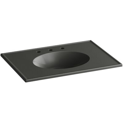 Ceramic Impressions Rectangular Drop-In Bathroom Sink with Overflow Top Finish: Thunder Gray Impressions