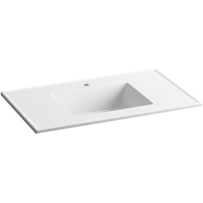 Ceramic Impressions Impressions Ceramic Rectangular Drop-In Bathroom Sink with Overflow Finish: White Impressions, Faucet Hole Style: 8 Widespread