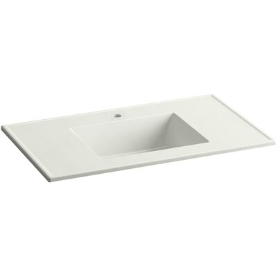 Ceramic Impressions Impressions Ceramic Rectangular Drop-In Bathroom Sink with Overflow Finish: Dune Impressions, Faucet Hole Style: 8 Widespread