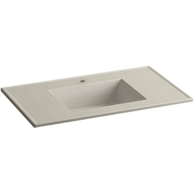 Ceramic Impressions Impressions Ceramic Rectangular Drop-In Bathroom Sink with Overflow Finish: Sandbar Impressions, Faucet Hole Style: 8 Widespread