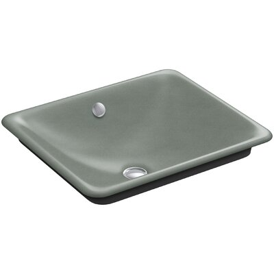 Iron Plains Plains? Metal Rectangular Vessel Bathroom Sink with Overflow Finish: Vapour Blue