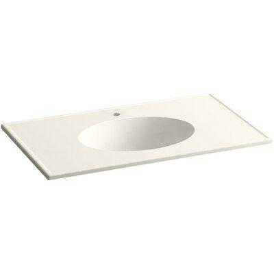 Ceramic Impressions Ceramic Rectangular Drop-In Bathroom Sink with Overflow Finish: Biscuit Impressions