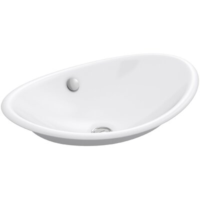 Iron Plains? Oval Vessel Bathroom Sink with Overflow Finish: White