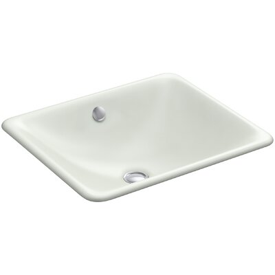 Iron Plains Plains? Metal Rectangular Undermount Bathroom Sink with Overflow Finish: Sea Salt