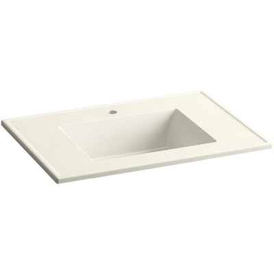 Ceramic Impressions Impressions 31 Single Faucet Hole Single Bathroom Vanity Top Top Finish: Biscuit Impressions